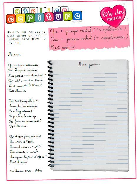 Ecrire Une Poésie Pour La Fête Des Mères Cycle 3 Mon école