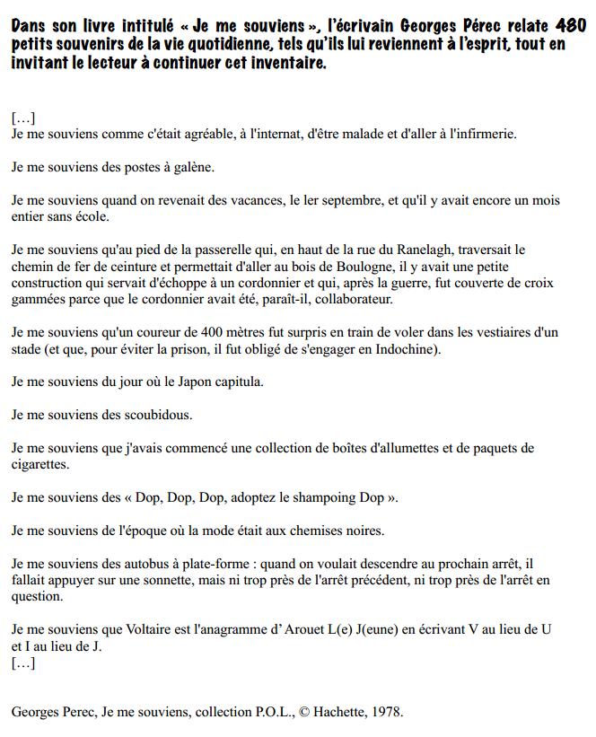 Extraits G. Perec