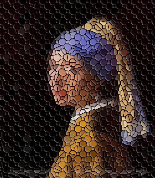jeune fille à la perle mozaique