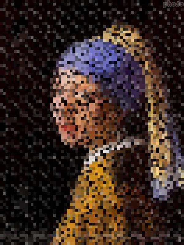 jeune fille à la perle pixel