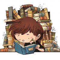 nio estudiando con muchos libros
